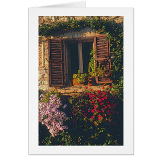 Italia Ventana y flores tarjeta photog