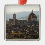 Italia, vista de Florencia con Basilica di Santa Adorno Cuadrado Plateado