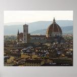 Italia, vista de Florencia con Basilica di Santa Póster