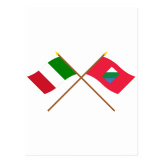 Italia y banderas cruzadas Abruzos Postales