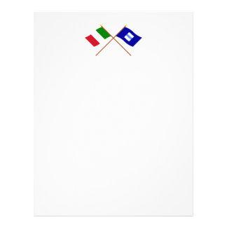 Italia y banderas cruzadas Basilicata Plantilla De Membrete