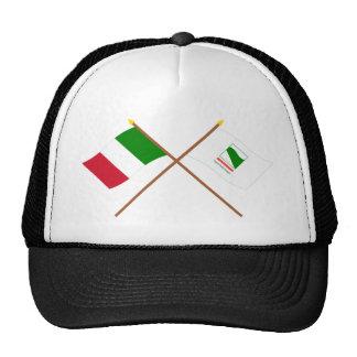Italia y banderas cruzadas Emilia-Romagna Gorras