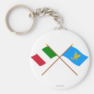Italia y banderas cruzadas Friuli-Venezia Giulia Llavero Redondo Tipo Pin