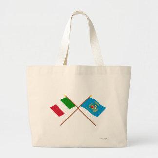 Italia y banderas cruzadas Lazio Bolsa Tela Grande