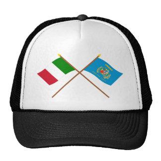 Italia y banderas cruzadas Lazio Gorros Bordados