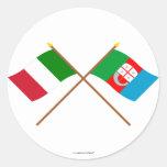 Italia y banderas cruzadas Liguria Pegatina Redonda