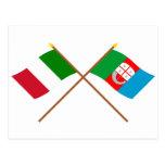 Italia y banderas cruzadas Liguria Tarjetas Postales