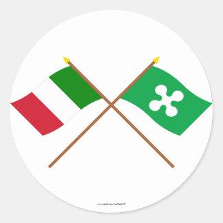 Italia y banderas cruzadas Lombardia Pegatina Redonda
