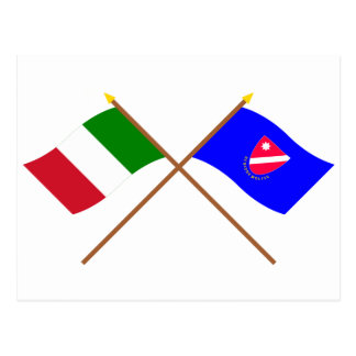 Italia y banderas cruzadas Molise Tarjetas Postales