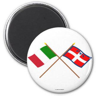 Italia y banderas cruzadas Piemonte Imanes Para Frigoríficos