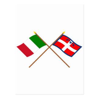 Italia y banderas cruzadas Piemonte Postal