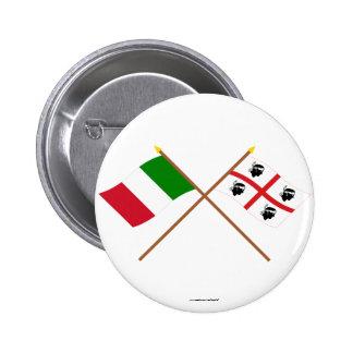 Italia y banderas cruzadas Sardegna Pin