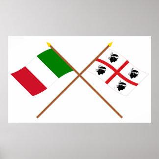 Italia y banderas cruzadas Sardegna Póster