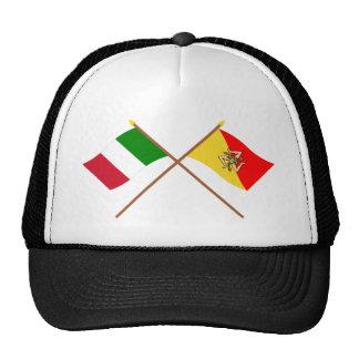 Italia y banderas cruzadas Sicilia Gorra