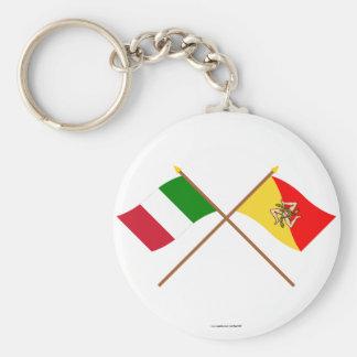 Italia y banderas cruzadas Sicilia Llavero Redondo Tipo Pin