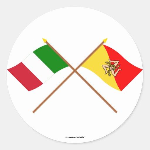 Italia y banderas cruzadas Sicilia Pegatina Redonda