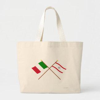 Italia y banderas cruzadas Toscana Bolsa Tela Grande