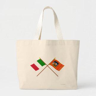 Italia y banderas cruzadas Véneto Bolsa Tela Grande