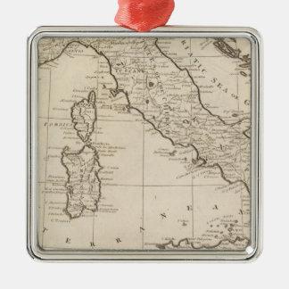 Italia, y Cerdeña Adorno Navideño Cuadrado De Metal