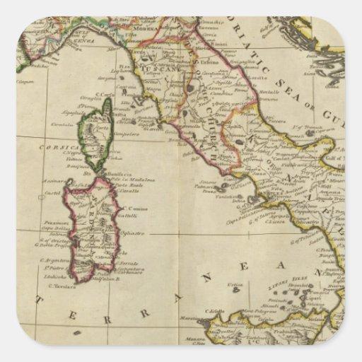 Italia, y Cerdeña Pegatina Cuadrada