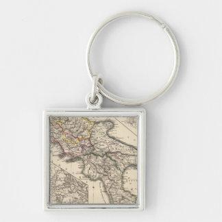 Italiae regiones IIIII, Sicilia Silver-Colored Square Keychain