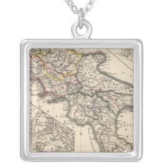 Italiae regiones IIIII, Sicilia Square Pendant Necklace