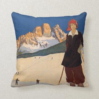 Italian Alps vintage travel throw pillow Throw Cushions