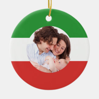 Italian-American Family Custom Photo Christmas Ceramic Ornament