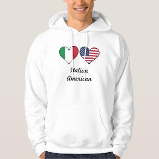 Italian American Flag Hearts Hoodie