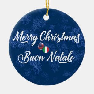 Buon Natale Ornament.Italian American Holiday Decoration Buon Natale Ceramic Ornament