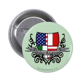 Italian-American Shield Flag Pinback Buttons