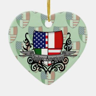 Italian-American Shield Flag Ceramic Ornament