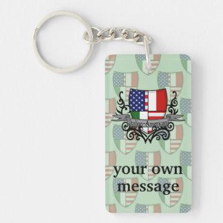 Italian-American Shield Flag Keychain