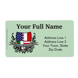 Italian-American Shield Flag Label