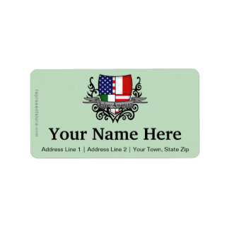 Italian-American Shield Flag Address Label