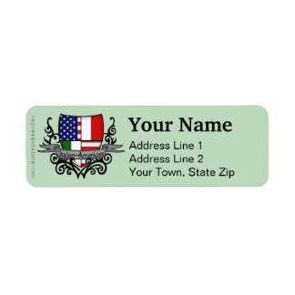 Italian-American Shield Flag Label