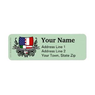 Italian-American Shield Flag Return Address Label