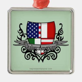 Italian-American Shield Flag Metal Ornament