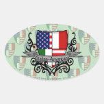 Italian-American Shield Flag Oval Sticker