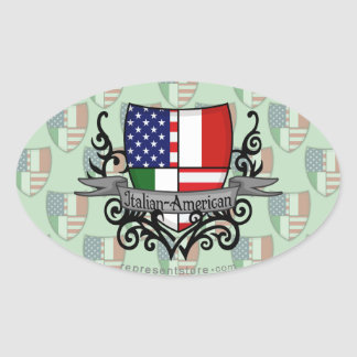 Italian-American Shield Flag Oval Sticker