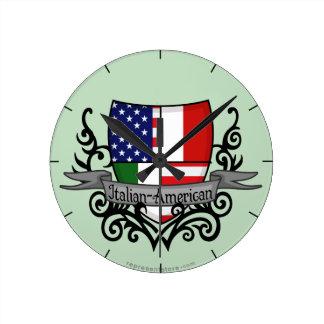 Italian-American Shield Flag Round Clock