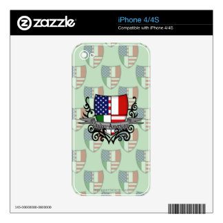 Italian-American Shield Flag Decals For The iPhone 4S