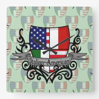Italian-American Shield Flag Square Wall Clock
