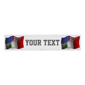 Italian-American Waving Flag Banner Poster