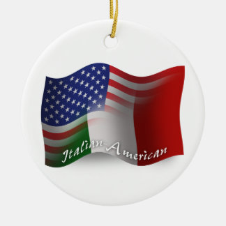 Italian-American Waving Flag Double-Sided Ceramic Round Christmas Ornament