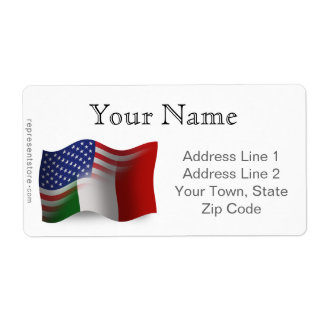 Italian-American Waving Flag Shipping Label