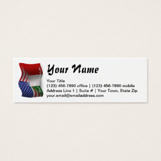 Italian-American Waving Flag Mini Business Card