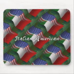 Italian-American Waving Flag Mousepad