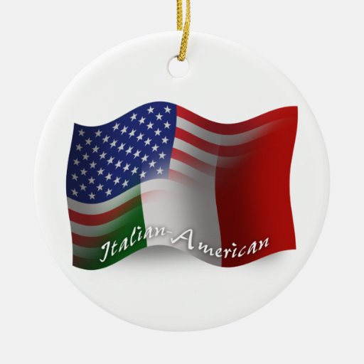 Italian-American Waving Flag Ornament
