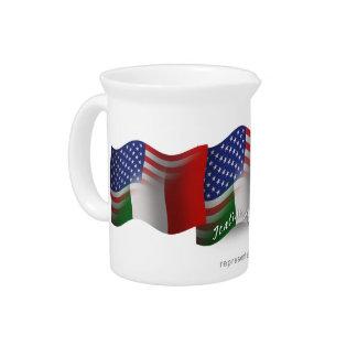 Italian-American Waving Flag Beverage Pitchers